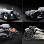Motos clássicas e carros são esculturas de aço em Houston
