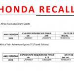 Honda convoca proprietários dos modelos CRF 1000L Africa Twin Adventure Sports e CRF 1000L Africa Twin Adventure Sports TE (Travel Edition)